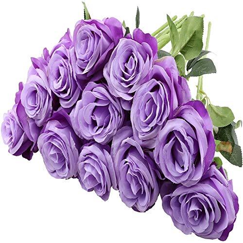 YYHMKB 12 Piezas de Rosas Artificiales, 19,7 Pulgadas de un Solo Tallo Largo, Flores de Seda, Ramo de Rosas realistas para la decoración de la Oficina del Banquete de Boda en casa, púrpura Claro