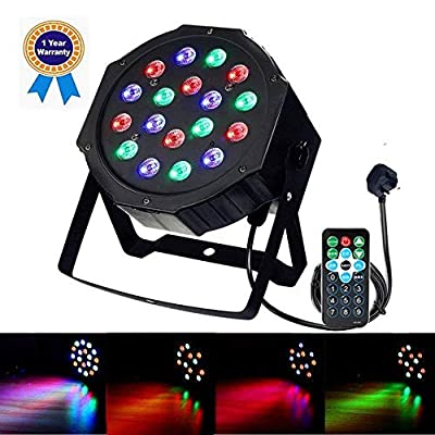 Disco Lights GLIME Stage Lights LED Par Lights 18W DMX-512 RGB 18LEDs DJ Light Sound Activated Projector Light Stage Lighting with IR Remote for Wedding Show Club Bar Party