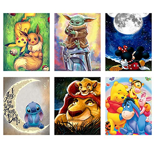 Diamond Painting Kits for Adults, 6 Pack Cartoon 5D Full Drill Round Crystal Rhinestone Embroidery Kits Diamond Art Perfect for Home Wall Deco(Diamond Dots 10x14inch)