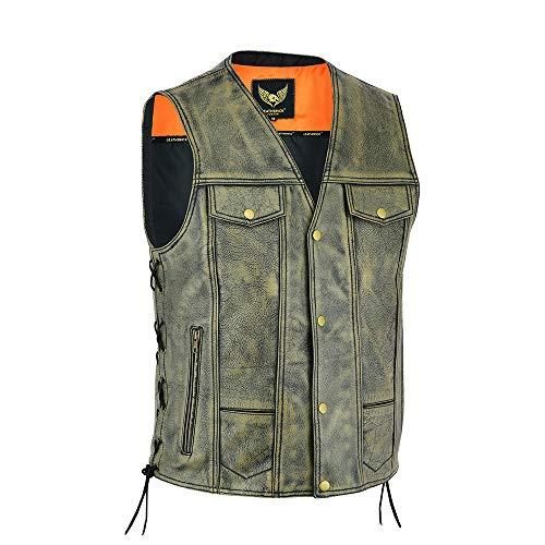Chaleco de cuero de piel de vacuno de grano superior marrón antiguo con 12 bolsillos Chaleco de cuero de motorista vintage con bolsillos profundos