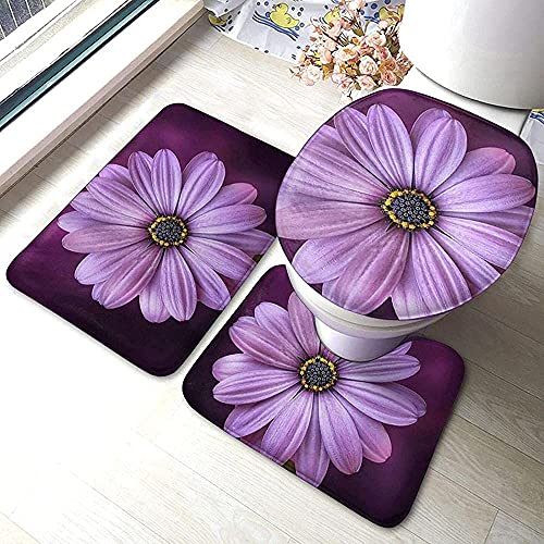 The Best Choice for Home Decoration 3 Piece Non-Slip Soft Bathroom Rug Set Purple Chrysanthemum Bath Mat+Toilet Seat Cover+Contour Mat