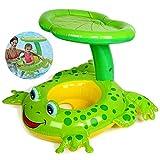 all Kids United Baby Schwimmhilfe Schwimmsitz Babysitz Klein-Kinder Schwimmring - Frosch Babyboot mit UV-Schutz Dach