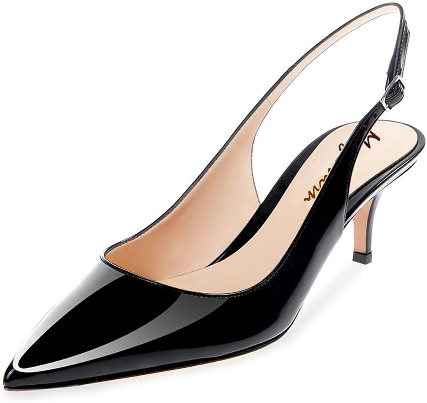 Maguidern Patent Leather Slingback Pumps, Women's Pointed Toe Slingbacks Buckle Ankle Strap Low Heel shoes Black Size 9