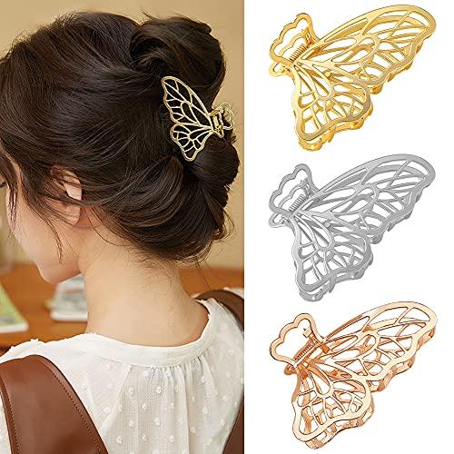 Nifocc Metall Haarklammern Schmetterling Haarspangen Große Krallen Clips Vintage Haar Accessoires für Frauen Damen Mädchen - 3 Stk Goldenes Roségold Silber