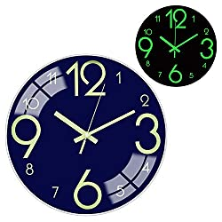 BECANOE Night Light Function Wall Clock Sapphire Blue 12 Inch Silent Non Ticking Quartz Battery Operated Round Easy to Read Home/Kitchen/Office/School Decorative Clocks