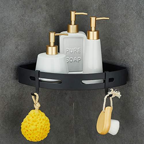 Gricol Eckablage Duschkorb Duschregal Ohne Bohren Raum Aluminium Mit 2 Haken für Dusche Badregal Selbstklebende für Bad und Küche (Schwarz)