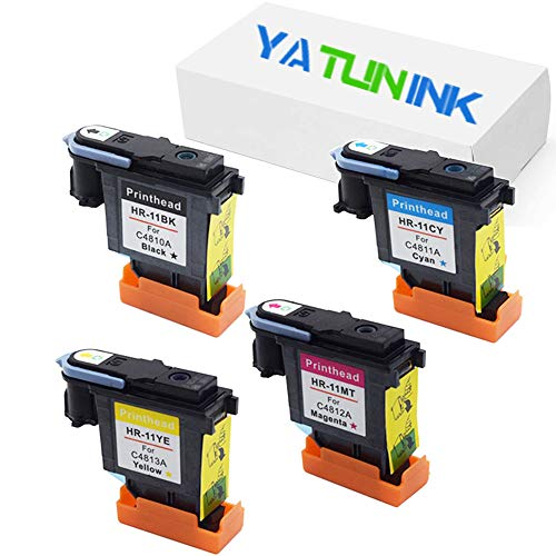 Price comparison product image YATUNINK Remanufactured Printhead Replacement for HP 11 C4810A-C4813A Printhead Printer Head Designjet 500 & 500 Plus Series(4 Pack)
