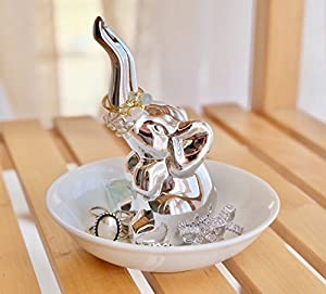 PUDDING CABIN Elephant Gift for Women - Elephant Trinket Dish for Rings Earrings Organizer - Elephant Decor for Women Girls Her Friends Birthday Valentine's Day Xmas Gifts