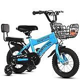 GASLIKE 12' 14' 16' 18' Bicicleta Niños con Ruedas de Entrenamiento para Las Edades de 2-6 años Niñas y Niños, Cabritos del niño de la Bicicleta,Azul,12 Inch