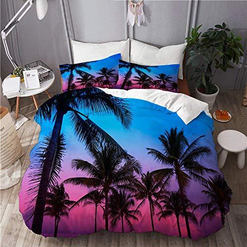916 Bettwäsche Set,Mikrofaser,Palmen des Sonnenuntergangs Miami Beach South Beach in Ocean Drive Florida,1 Bettbezug 135x200 + 2 Kopfkissenbezug