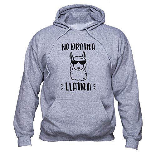 Llama Sunglasses Sweatshirt No Drama Llama Hoodie Llama Drama Pullover Llama Fan Men Women Unisex Sudadera con Capucha Gris 4XL