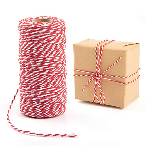 328 Feet Baker's Twine, Cotton Crafts Twine, Heavy Duty Christmas Holiday Twine, Great Gift Packing, DIY Crafts (Redwhite)