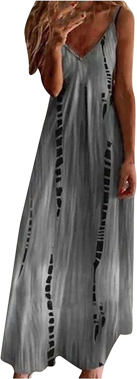 Women's Maxi Floral Dresses Sleeveless, Women Casual Long Maxi Summer Beach Dresses Bohemian Spaghetti Sundresses