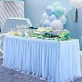 NSSONBEN Azzurro Tulle Gonna da Tavolo Tutu Gonne da Tavolo per Feste Matrimoni Festa di Compleanno Bambino Doccia Decorazione 2Yard/6ft/L183cm*H77cm
