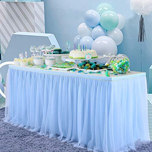 Falda de Mesa Tul Azul Faldas de Mesa Azul Faldones de Mesa Tutú para baby shower niña, baby shower, boda, cumpleaños, fiesta de cumpleaños infantil