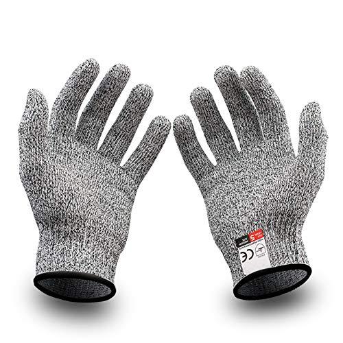 Schnittschutzhandschuhe,Extra Starker Level 5 Schutz Küchen Handschuhe,Sicherheit Arbeitshandschuhe,EN388 Zertifiziert,für Gartenbau/Baustelle/Küche,Grau 1Paar (XS)