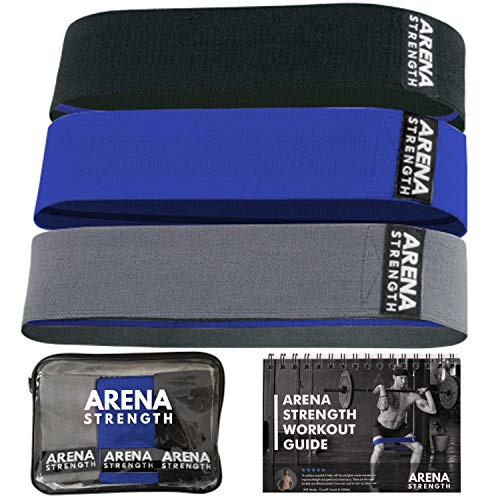 Arena Strength Fabric Glute Bands - Hip Bands for Legs and Butt (3 Pack) Hip Resistance Bands for Men | Leg Resistance Bands for Working Out Including Workout Guide & Travel Case