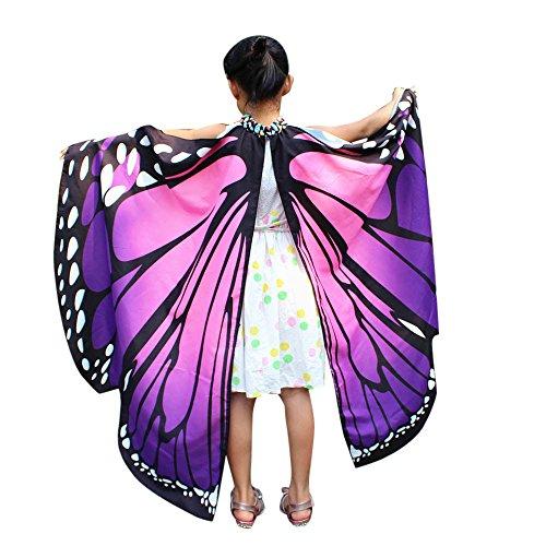 Scialle Ali Farfalla Bambina Carnevale Costume Cerimonia Butterfly Wings Travestimenti Costume Danza Ballo Cosplay Poncho Shawl Abbigliamento Gonna Tutu Mantello Stole Vestito Unisex Ragazza
