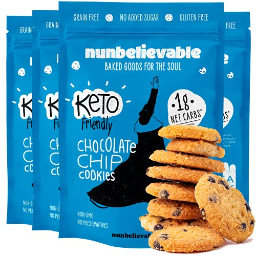 Nunbelievable Keto Chocolate Chip Cookies, Sugar Free Cookies Low Carb Snack 3.4oz Keto Snacks For Weight Loss - Healthy Cookies, Gluten Free, Grain Free, Non GMO, No Artificial Flavors (4 Count)