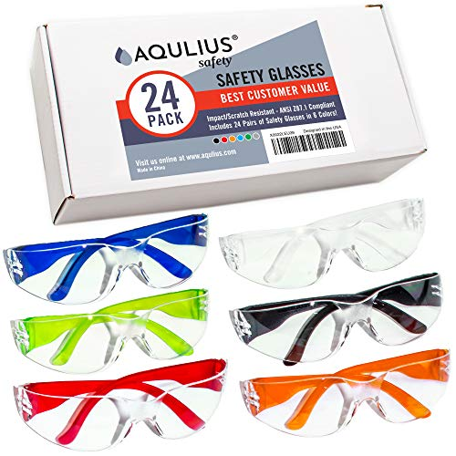 24 Pack of Safety Glasses (24 Protective Goggles in 6 Different Colors) Crystal Clear Eye Protection - Perfect for Construction, Shooting, Lab Work, and More!