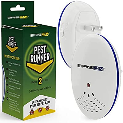 Pest Control Ultrasonic Repellent - Electronic Pest Control Repels Mice Rats Spiders Roaches Ants Snakes Rodents & Bats - Ultrasonic Pest Repeller Human & Quiet & with a Night Light 2-Pack