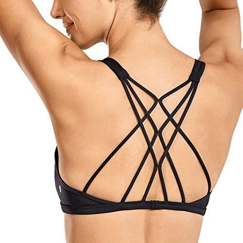 CRZ YOGA Damen Doppelter Kreuz-Träger ohne Bügel abnehmbare Bra-Einlage Yoga Sport BH Schwarz Medium