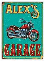 アレックスのガレージバイクティンサイン壁鉄絵レトロプラークヴィンテージ金属シート装飾ポスター面白いポスターバーガレージカフェホームの工芸品をぶら下げ