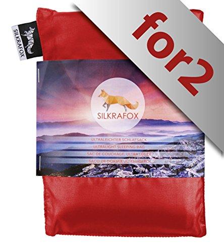 Silkrafox for 2, Sacco a Pelo Ultraleggero in Seta Artificiale, Sacco Lenzuolo, Grigio, Ideale per Le Coppie, Rosso