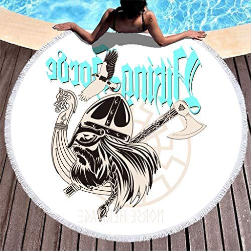 Norse Viking Warrior Berserker Head Viking Dragon Ship Axe Raven Tattoo Print Durable Round Beach Towel with Tassels Fantasy Round Fringe Beach Throw Picnic Table Cover White 59 inch