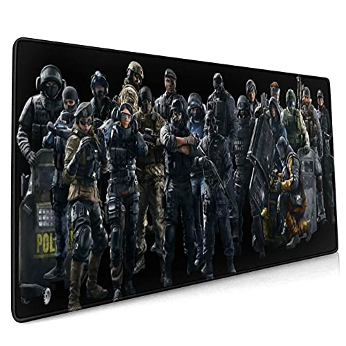 HyGGek Rainbow Six Siege Mouse Pad,Large Gaming Mousepad Durable Stitched Edges,Natural Non-Slip Rubber Base Mousepad Laptop,Computer,Pc 15.8 X 35.5 Inches,for Office,Home Kids