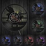 Wwbqcl Orologio da Parete con Disco in Vinile di Design Moderno K9 Orologio da Parete Decorativo per addestramento di Cani Militari e di Polizia Decorazioni Creative per Camera da Letto con LED