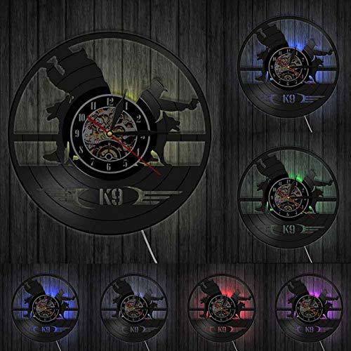 mbbvv Reloj de Pared con Disco de Vinilo de Cuarzo silencioso K9, Relojes de Pared Decorativos para Entrenamiento de Perros Militares y policías, Reloj Creativo para decoración de Pared de habitación