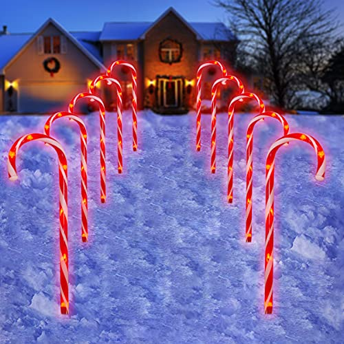 Candy Cane Outdoor Landscape Lights - 10 Pack 60 Red LEDs 21in Lighted Christmas Path Lights String with 8 Flashing Modes End-to-End Plug in Waterproof Red Candy Cane Outdoor Christmas Decorations