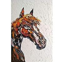 DIHEFA馬の頭のポスターとプリントキャンバスの絵画家の居間の壁の装飾のための動物の油の写真幾何学的図形の装飾/ 50x75cm(フレームなし)