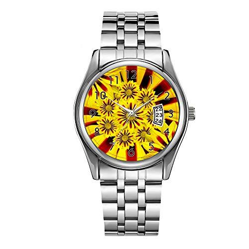 Reloj de lujo de los hombres 30 m impermeable fecha reloj masculino deportes relojes hombres cuarzo casual reloj de pulsera de Navidad brillante flores amarillas relojes de pulsera