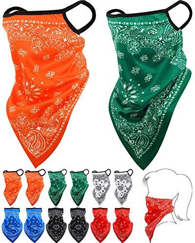 SATINIOR Bandana Gesichtsschutz Ohrschlaufen Sturmhauben Hals Gamasche Schal Outdoor Kopfbedeckung für Männer Frauen (Orange, Weiß, Grün, Blau, Rot, Schwarz, 12)