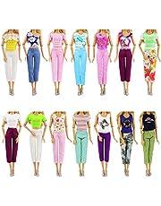 ZITA ELEMENT Lot 10 artiklar dockkläder dagligen mode vardagskläder för 30 cm flickdocka – 5 st blusar och 5 byxor slumpmässig stil
