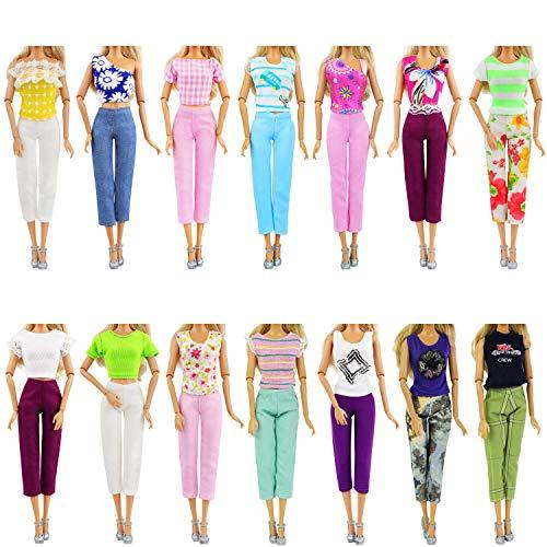 ZITA ELEMENT 10 Piezas Ropa Muñeca 11,5 Pulgadas - 5 Camiseta + 5 Pantalones Trajes Casuales Fashionistas - Estilo Aleatorio