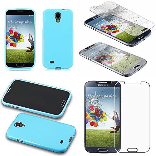 ebestStar - Coque Compatible avec Samsung S4 Galaxy i9500 i9505 Etui Housse Silicone Gel TPU Souple Anti-Choc, Bleu + Film écran en Verre Trempé [Appareil: 136.6 x 69.8 x 7.9mm, 5.0'']