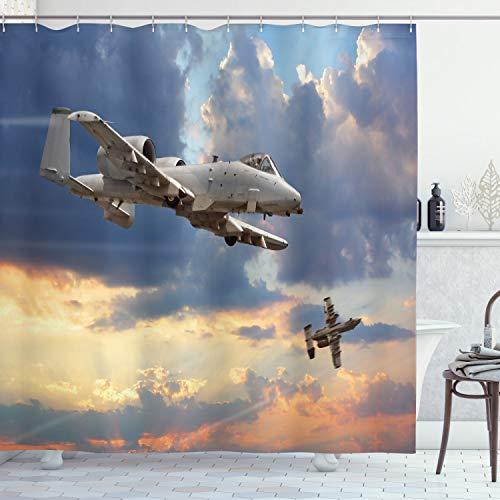 ABAKUHAUS Flugzeug Duschvorhang, Aviataion Thema Design, mit 12 Ringe Set Wasserdicht Stielvoll Modern Farbfest & Schimmel Resistent, 175x240 cm, Blau