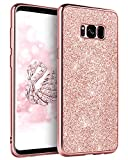 Galaxy S8 Plus Case Glitter,DUEDUE S8 Plus Case,Sparkly Bling Slim Hybrid Hard PC Cover Shockproof Non-Slip, Full Body Protective Phone Cover Case for Samsung Galaxy S8 Plus for Women/Girls,Rose Gold