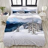 YCHY Fresh Powder Snowboard Tracks College Dorm Room Decor Decorative Custom Design 3 PC Duvet Cover Set Twin/Twin Extra Long