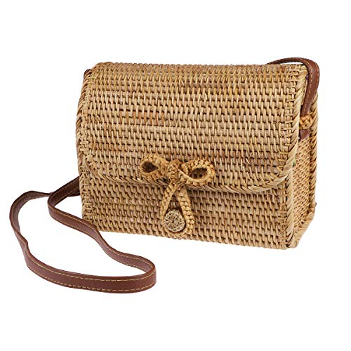 FENICAL Bolso de paja Bolso bandolera de mimbre vintage hecho a mano Bolso cuadrado de playa tejido para mujeres niñas