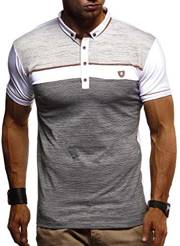 Leif Nelson Herren Sommer T-Shirt Polo Kragen Slim Fit Baumwolle-Anteil Basic schwarzes Männer Poloshirts Longsleeve-Sweatshirt Kurzarm Weißes Kurzarmshirts lang LN1420 Weiss X-Large