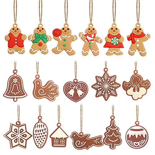 Christbaumanhänger 17Pcs Weihnachtsbaumschmuck Deko-Anhänger Mini Dekorationen Anhänger, Lebkuchen Weihnachtsglocke Schneeflocke Weihnachtsbaum Handwerk für Weihnachtsfest Dekorationen Weihnachtsfeier
