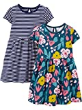 Simple Joys by Carter's Juego de 2 Vestidos Corta y sin Mangas. Infant-and-Toddler-Playwear-Dresses, Floral/Raya, 18 Months, Pack de 2