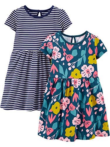 Simple Joys by Carter's Mädchen 2-Pack Short-Sleeve and Sleeveless Dress Sets, 2er-Pack,Blumen/Streifen,2T