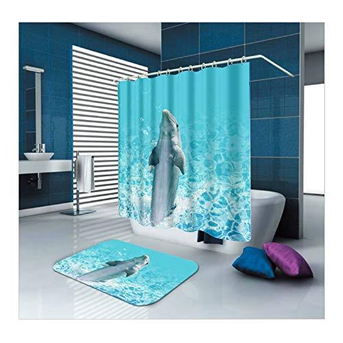 Bishilin Delfin Polyester-Stoff Badezimmer Duschvorhang 150x200, Badematten für Stand WC 40x60 Badezimmerteppich Set 2 Teilig