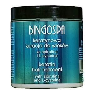 BINGOSPA Tratamiento de queratina para cabello quebradizo, cabello dañado y puntas abiertas con espirulina y L-cisteina - 250 g