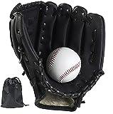 LeapBeast Guante de Béisbol, Jarra Softball Guantes Mano Izquierda Suave PU con 1 Pelota Suave para Niño/Adolescente/Adulto Profesional de Béisbol (Negro, 12.5')